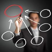 business man drawing circles
