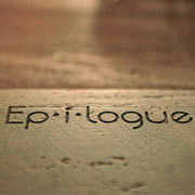 the word epilogue on top of wood