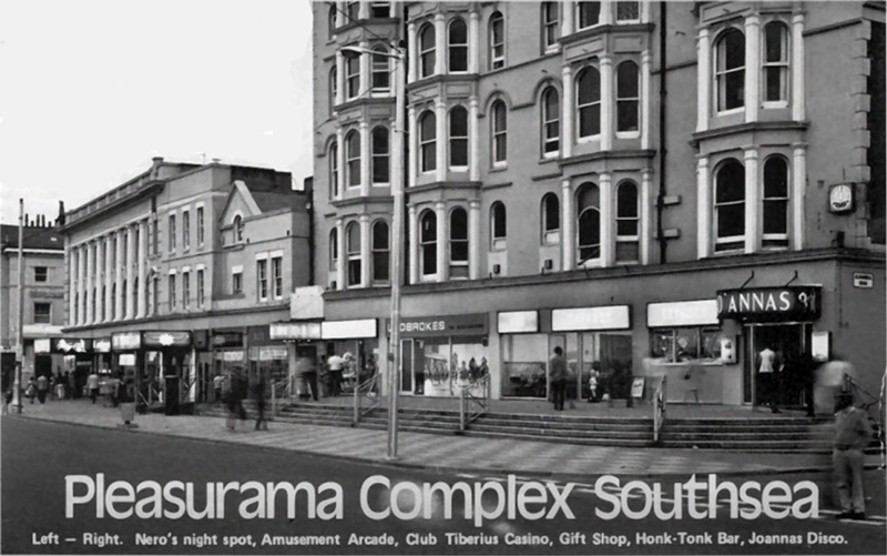 Nero's Nitespot, Club Tiberius Casino, The Honky-Tonk Bar and Joanna's Disco located on the Portsmouth seafront