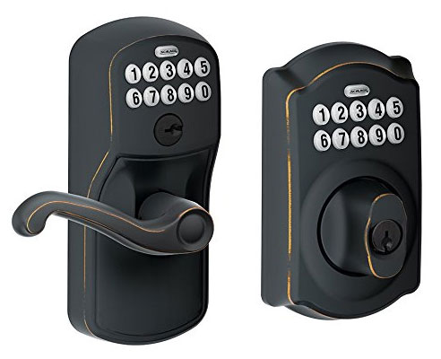Schlage keypad door lever and deadbolt from the Plymouth and Camelot line