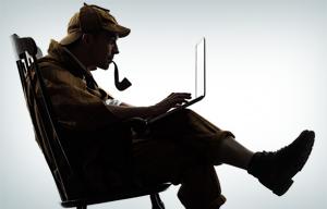 Sherlock Holmes at a computer