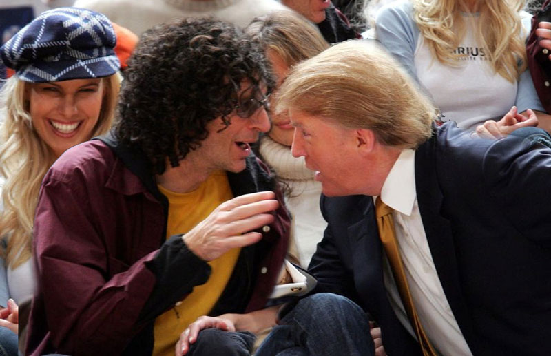 Howard stern and Donald Trump at Knicks game with Melania Trump and Beth Stern