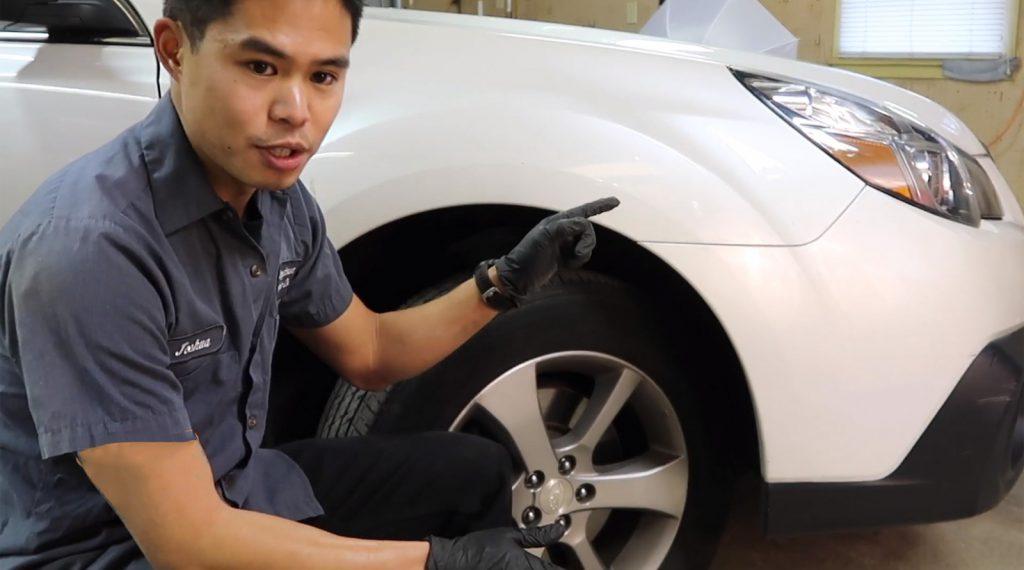 removing wheels to replace Subaru Outback headlight bulbs